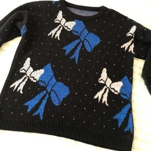 Vintage Ugly Christmas Sweater Blue and White Bow